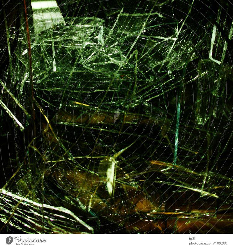 broken view Glass fragment Broken Slivered Transparent Glittering Lighting Cut Glazier Square Bird's-eye view Ominous Green Yellow Corner Dangerous Stitching
