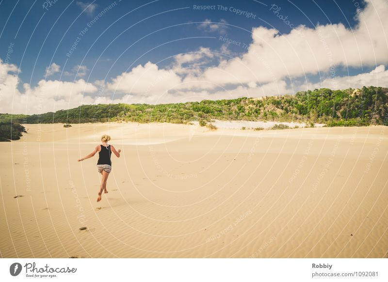 Over the dunes... Woman Adults 1 Human being Nature Landscape Sand Sky Island Fraser Island Desert Oasis Australia + Oceania Beach dune Footprint Discover