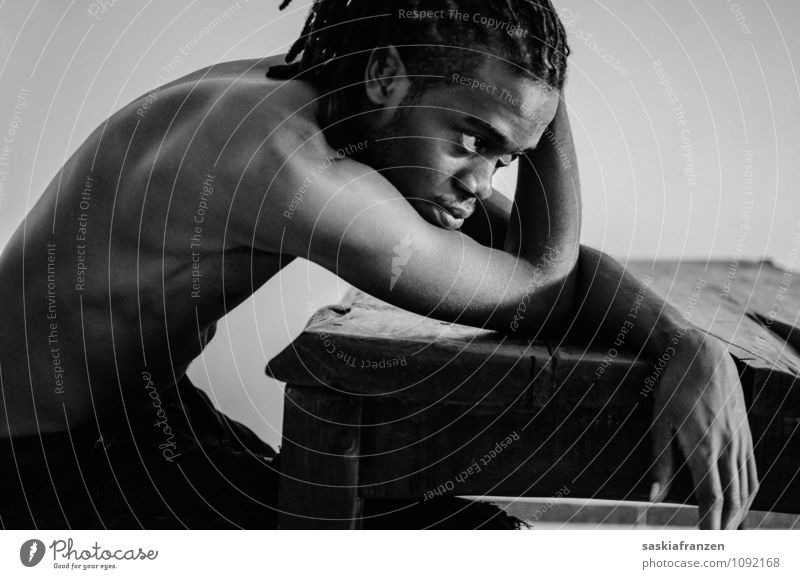 Lost in thoughts. Human being Masculine Young man Youth (Young adults) Adults 1 18 - 30 years Hair and hairstyles Black-haired Long-haired Dreadlocks Afro Sit