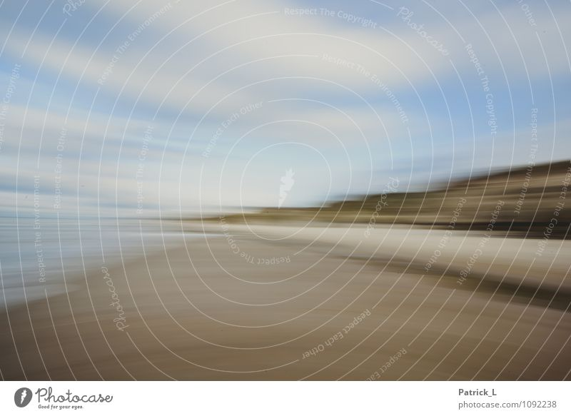 North Sea Beach Sand Sky Blue Brown Yellow Gold Movement Distorted Speed Point Clouds Cliff Colour photo Exterior shot Experimental Abstract Deserted