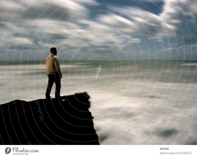 Sky Ocean Clouds Loneliness Dark Power Wind Rock Force Might Gale Part Dynamics Against Cliff Mediterranean sea