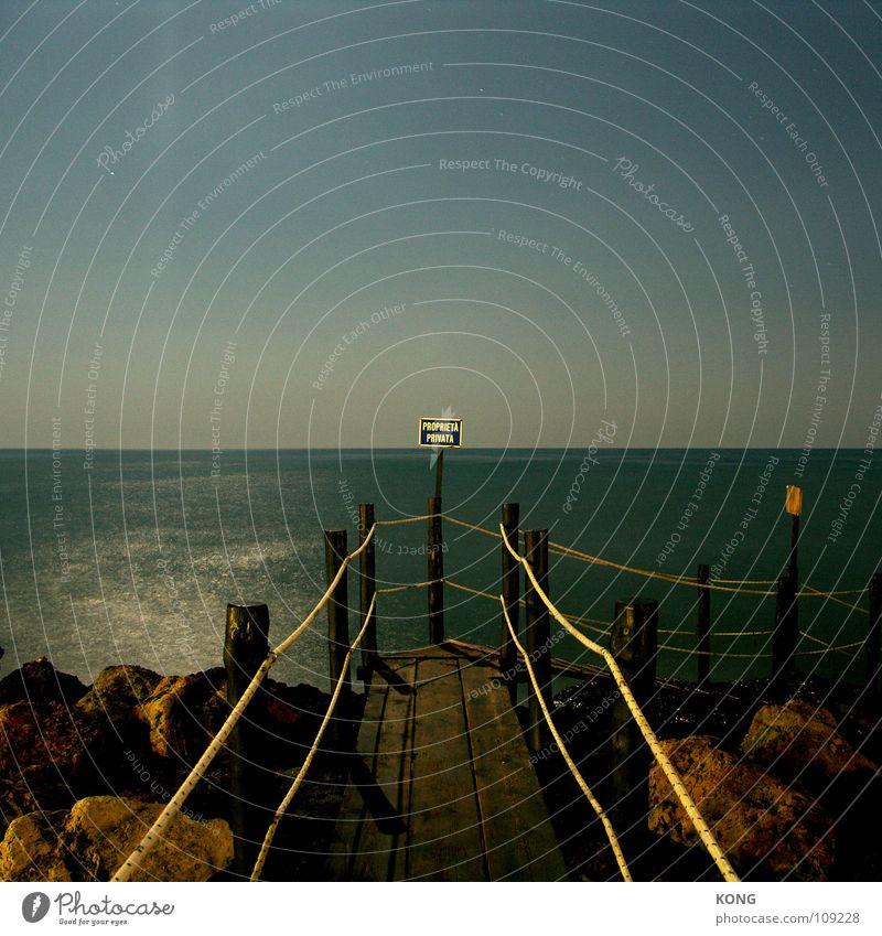 proprieta privata Long exposure Ocean Cliff Ledge Night Clouds Sky Dark Unwavering Continuous Footbridge Private Physics Calm Signage sea Mediterranean sea
