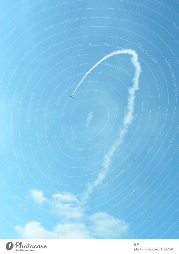 Sky White Blue Clouds Airplane Speed Aviation Smoke Curve Model aeroplane