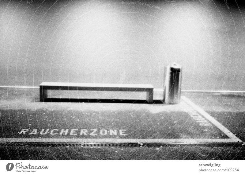 smoking area Smoking Zone Trash container Night Long exposure Black & white photo Bench