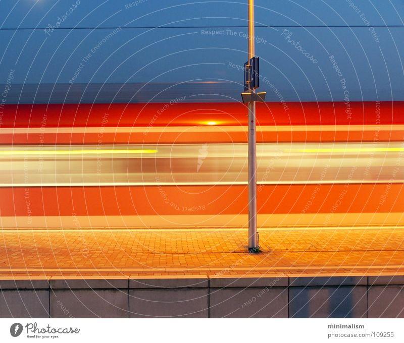 Blue Red Movement Orange Transport Railroad Cologne Train station Platform