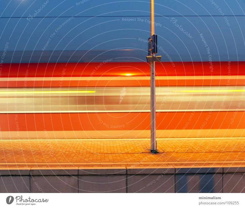 track one Railroad Long exposure Platform Cologne Red Train station Transport Movement Blue Orange