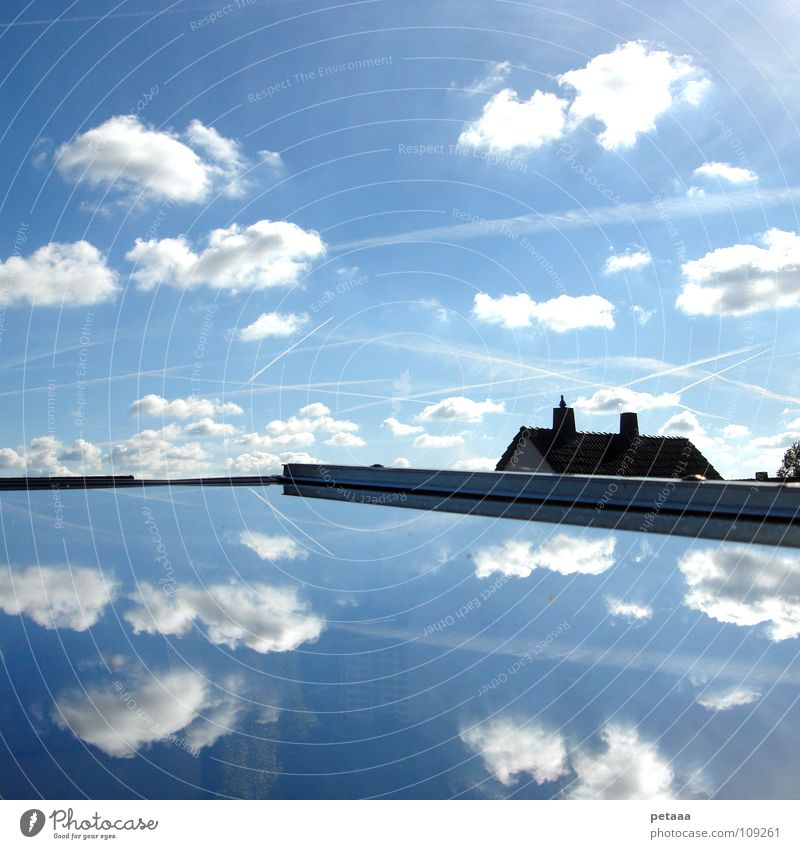 Sky Tree Blue House (Residential Structure) Clouds Window Airplane Roof Stripe Mirror Chimney Chaos Muddled