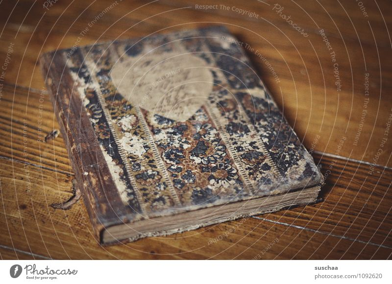 diary Paper Old Book Diary Notebook Binding Wooden floor Colour photo Subdued colour Interior shot Deserted Copy Space right Day Shallow depth of field