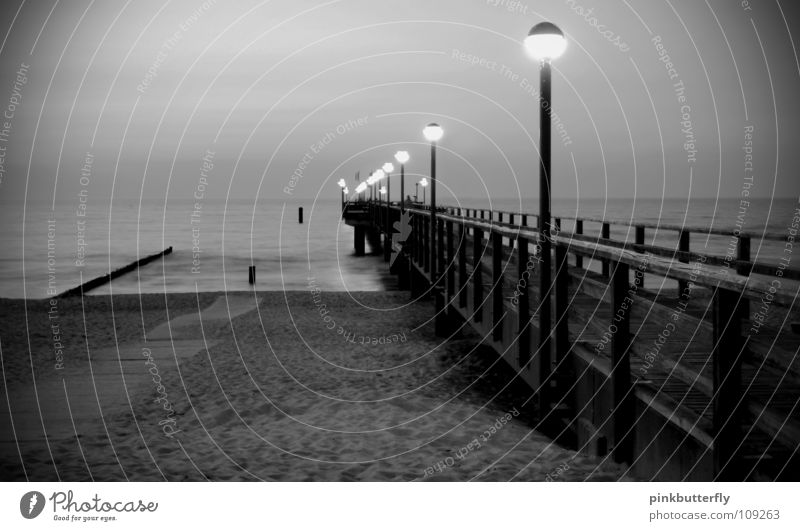 Crime scene: XY unsolved Horizon Ocean Pond Lake Body of water Waves Wet Footbridge Jetty Environmental protection Infinity Column Coast Gray Black White Fog