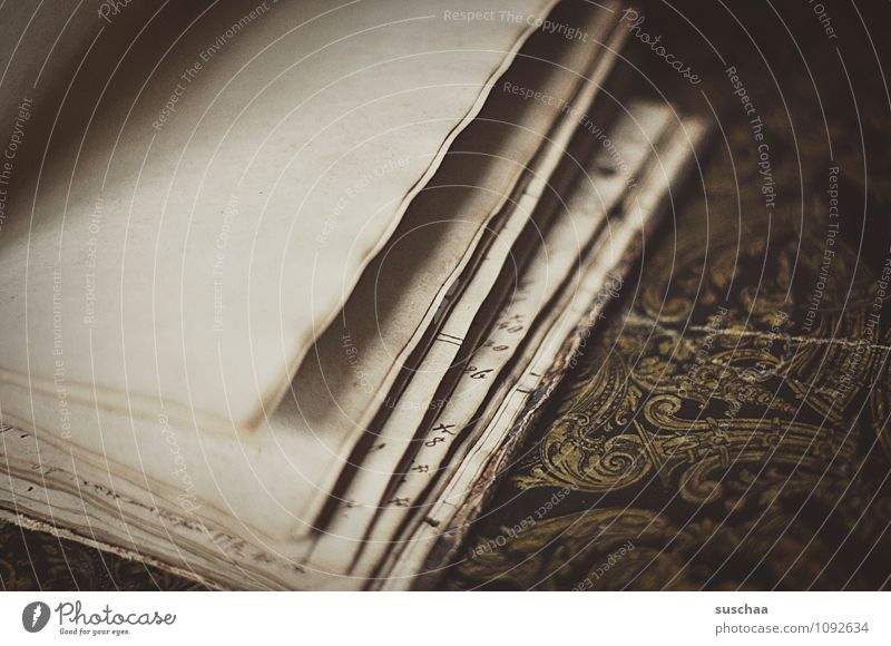 by the page ... Paper Old Retro Page leaves Book Document Empty Subdued colour Interior shot Detail Deserted Copy Space left Copy Space right Day Blur
