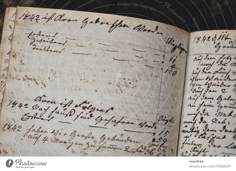 1842 ... Book Characters Old Retro Brown Nostalgia Past cursive notes Notebook old german script cash book Diary Page Paper Ink Subdued colour Interior shot