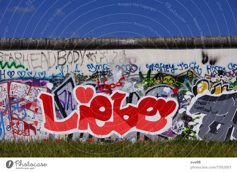 East Side Gallery Love Art Nature Town Sign Characters Wall (barrier) Berlin Eastside Gallery The Wall Graffiti Blue sky Heart-shaped Colour photo Exterior shot