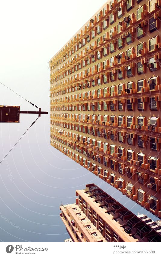Summit cross. Town High-rise Christian cross Central perspective Hongkong Colour photo Exterior shot Abstract Deserted Day Worm's-eye view Mongkok Kowloon China