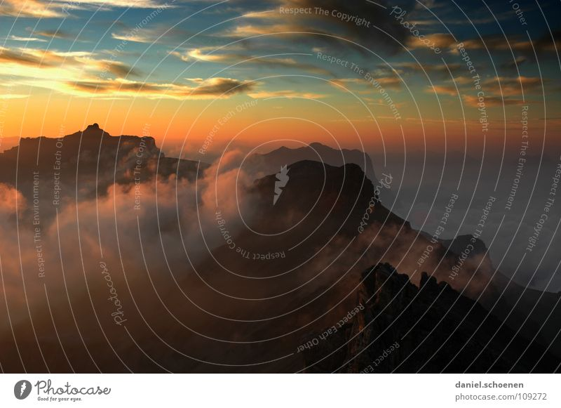 at the very top Sunset Cirrus Climate change Switzerland Bernese Oberland Mountaineering Leisure and hobbies Endurance White Clouds High mountain region Clean