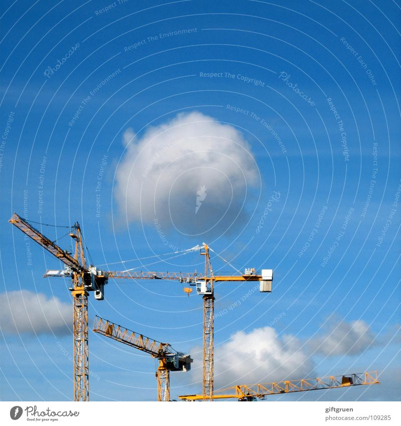 Sky White Blue Clouds Construction site Craft (trade) Build Crane Bad weather
