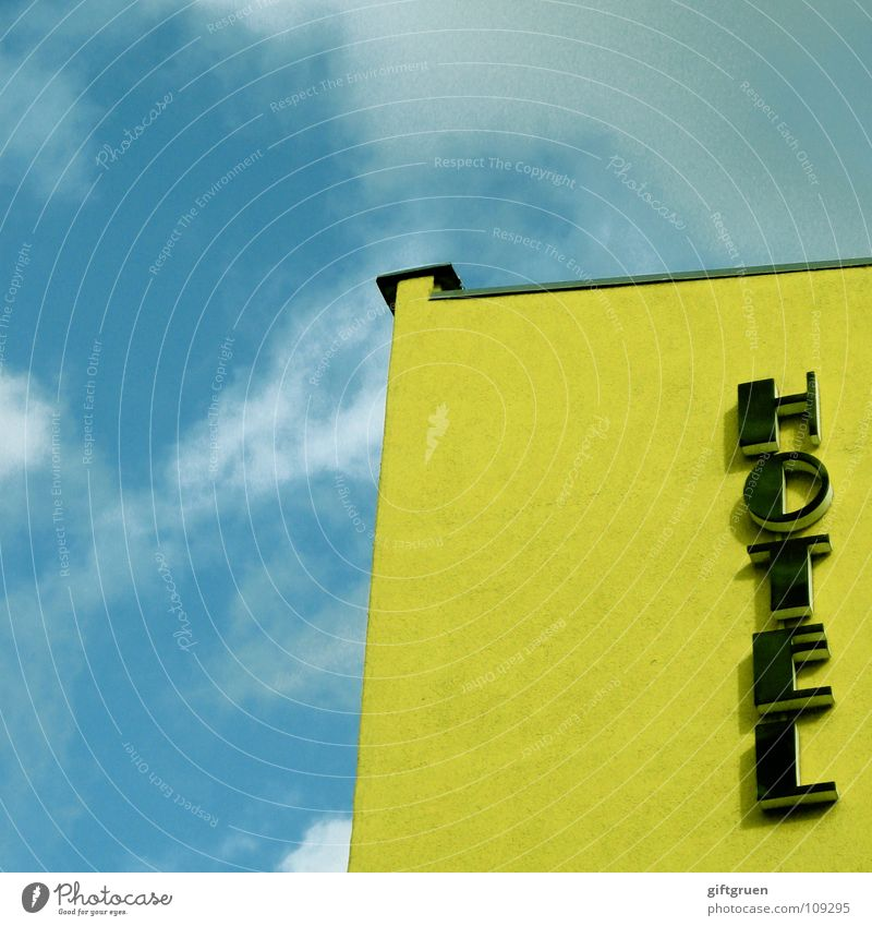 HOTEL Hotel House (Residential Structure) Building Clouds White Yellow Bad weather Sleep Typography Lettering Letters (alphabet) Detail Characters Sky