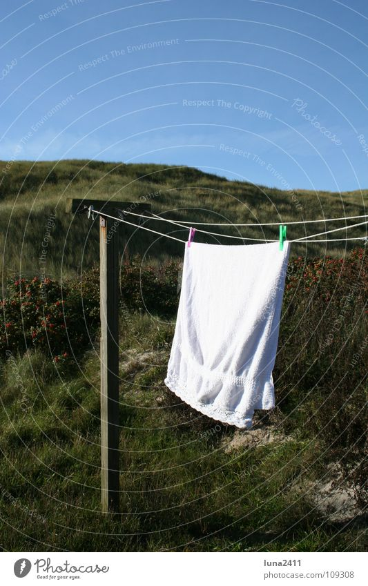 back home... Clothesline Towel Terry cloth White Wood String Holder Clothes peg Laundry Grass Green Dry Bathroom Pole Rope Sky Blue Beach dune Blow Wind