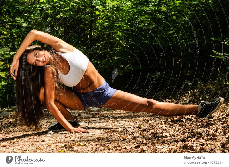 sport Human being Woman Nature Youth (Young adults) Plant Summer Tree Young woman Leaf 18 - 30 years Forest Adults Movement Grass Sports Park