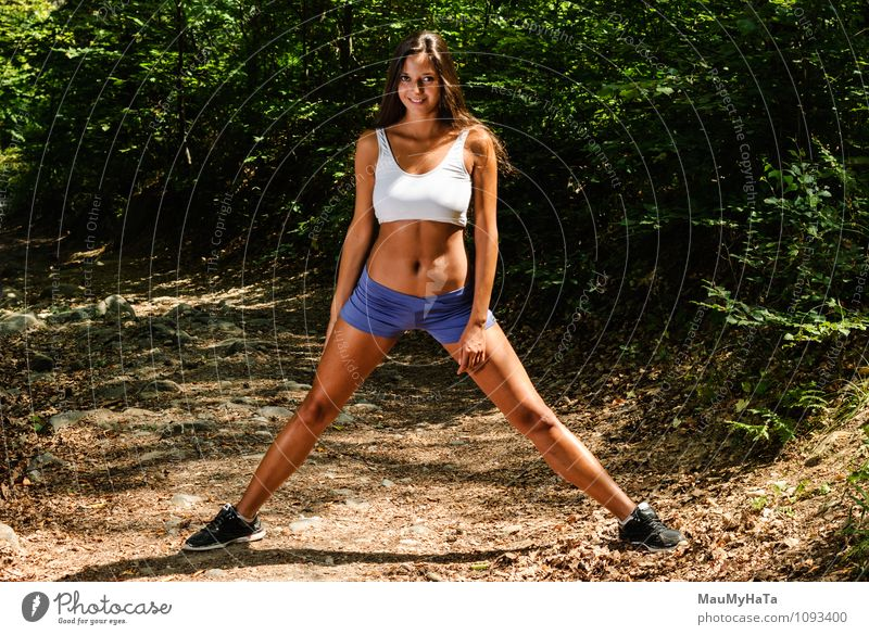 athlete girl in nature Sports Fitness Sports Training Sportsperson Jogging Young woman Youth (Young adults) Woman Adults 1 Human being 18 - 30 years Nature
