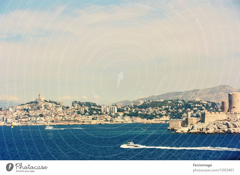 View of Marseille Landscape Beautiful weather Coast Ocean Island Hot Southern France Port City Watercraft Château d'If Blue Marine blue Notre Dame de la Garde