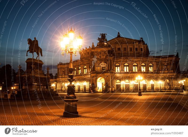 Such a theater Vacation & Travel Tourism Trip Sightseeing City trip Lighting Sculpture Theatre Opera house Night sky Dresden Theater square Town Places Building