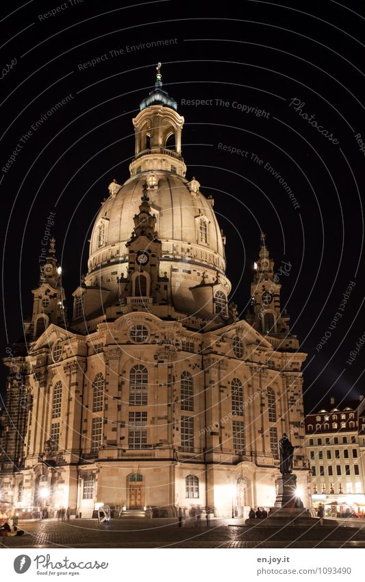 changes Vacation & Travel Tourism Trip Sightseeing City trip Night sky Dresden Saxony Germany Europe Town Capital city Church Manmade structures Building