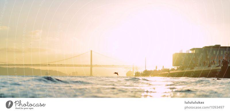 That's Lisbon. Happy Vacation & Travel Tourism Trip Freedom Summer Sun Ocean Waves Human being Crowd of people Beautiful weather Bridge Landmark Monument