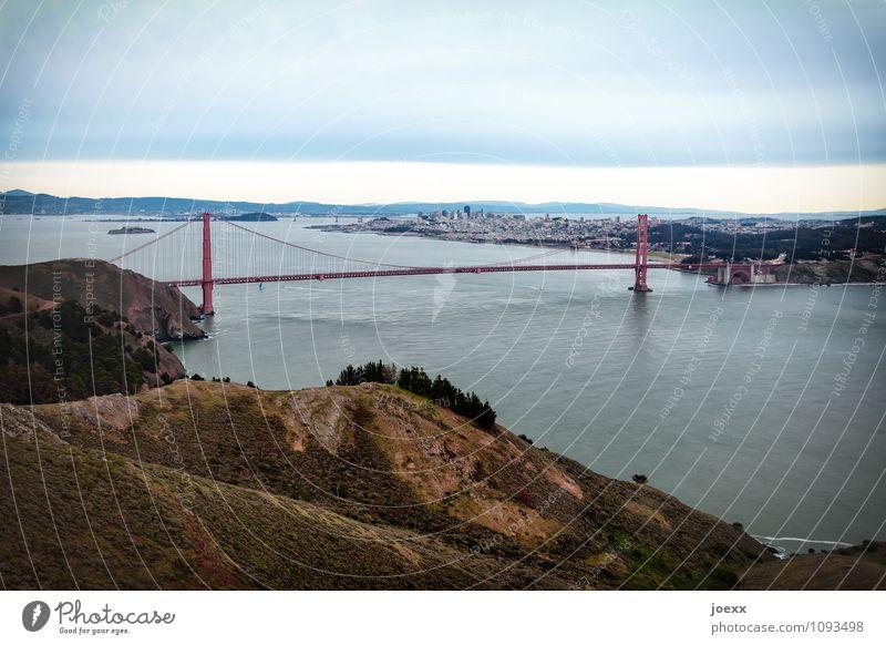 landmarks Tourism City trip Water Sky Mountain San Francisco bay USA Town Bridge Tourist Attraction Landmark Golden Gate Bridge Street Large Historic Beautiful