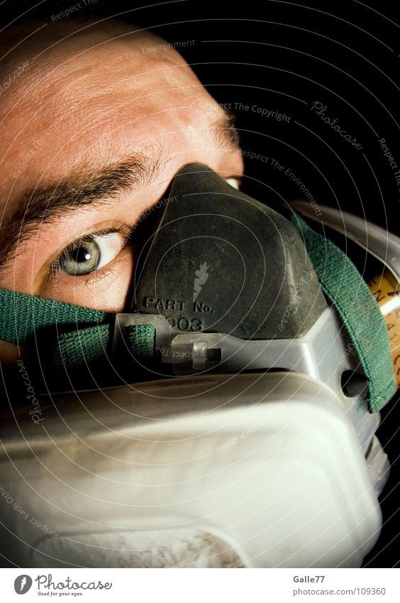 breathing protection Breathe Fresh Air Dirty Pure Dangerous Polluted Portrait photograph Man Oxygen Respirator mask Environment Fisheye Work and employment Mask