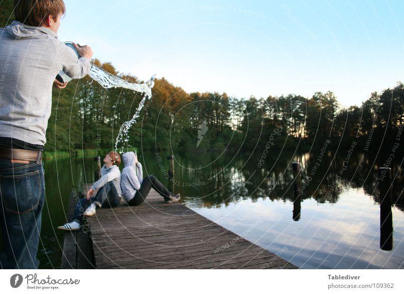 Water Calm Lake Couple Wet Footbridge Inject Bucket