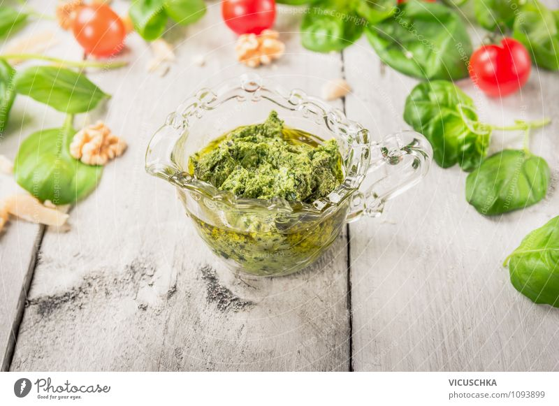 Basil Pesto in glass Food Vegetable Herbs and spices Nutrition Lunch Organic produce Vegetarian diet Italian Food Cup Style Design Garden Italien pesto Parmesan