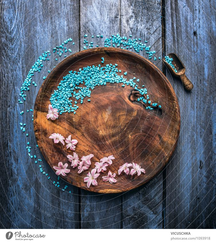 Wooden plate with blue bath salt and flowers Style Design Exotic Healthy Alternative medicine Wellness Well-being Relaxation Meditation Fragrance Cure Spa