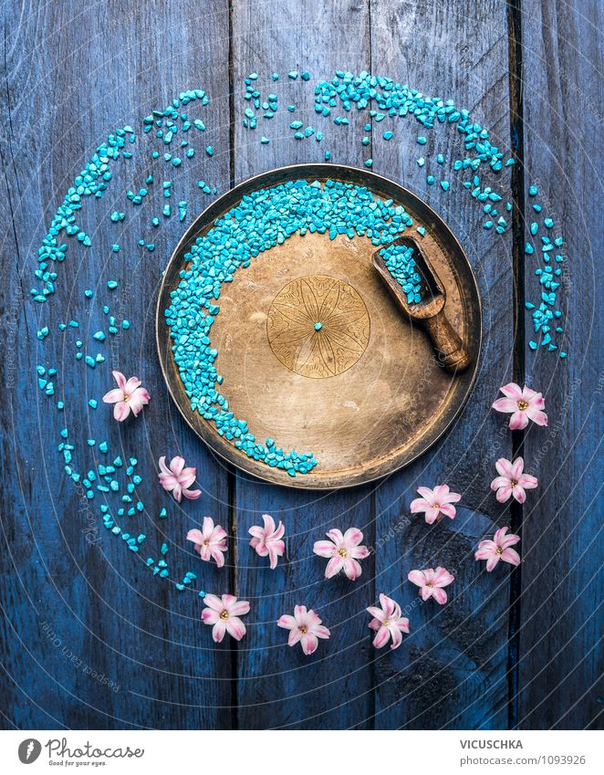 Old Blue Relaxation Flower Interior design Style Wood Healthy Background picture Design Elegant Table Bathroom Wellness Well-being Fragrance