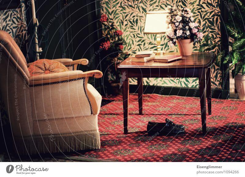 Old Lamp Footwear Table Book Grandmother Wallpaper Carpet Flowerpot Armchair Wallpaper pattern