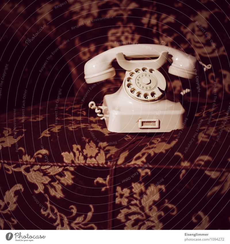 HMV Grandma's Phone Telephone Sofa Living room Old Retro Rotary dial Analog analogue technology Means of communication Colour photo Subdued colour Deserted