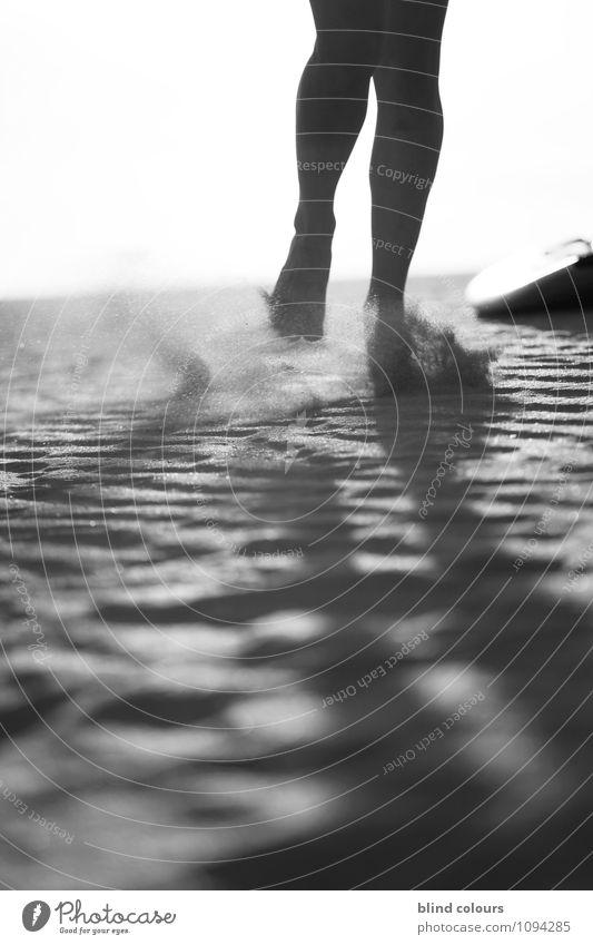 grain de sable Art Esthetic Contentment Legs 2 Sand Woman's leg Blow Walking Jogging Athletic Feet Stride Desert Black & white photo Exterior shot Detail