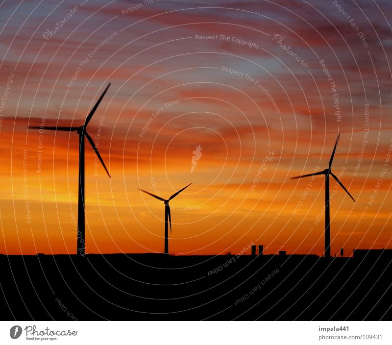 Sky Sun Red Black Power Wind Environment Horizon Force Industry Energy industry Electricity Wind energy plant Rotate Dusk Environmental protection
