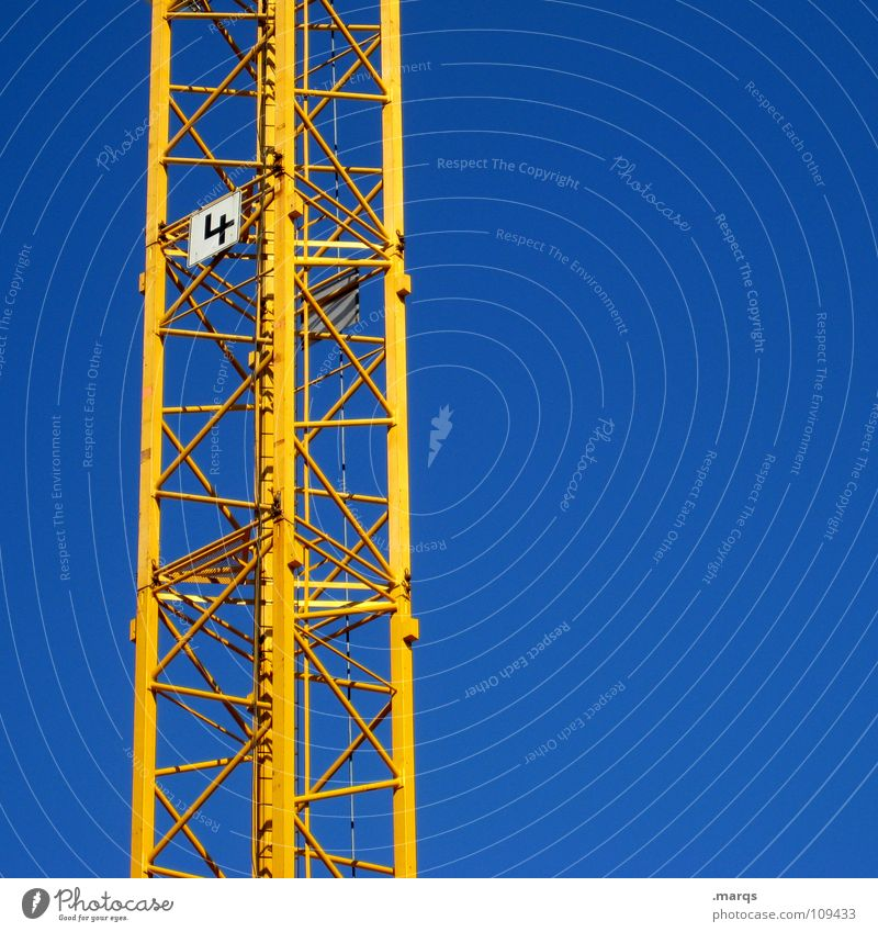 Sky Blue Yellow Work and employment Tall Industry Construction site Technology Digits and numbers Level 4 Long Steel Weight Crane