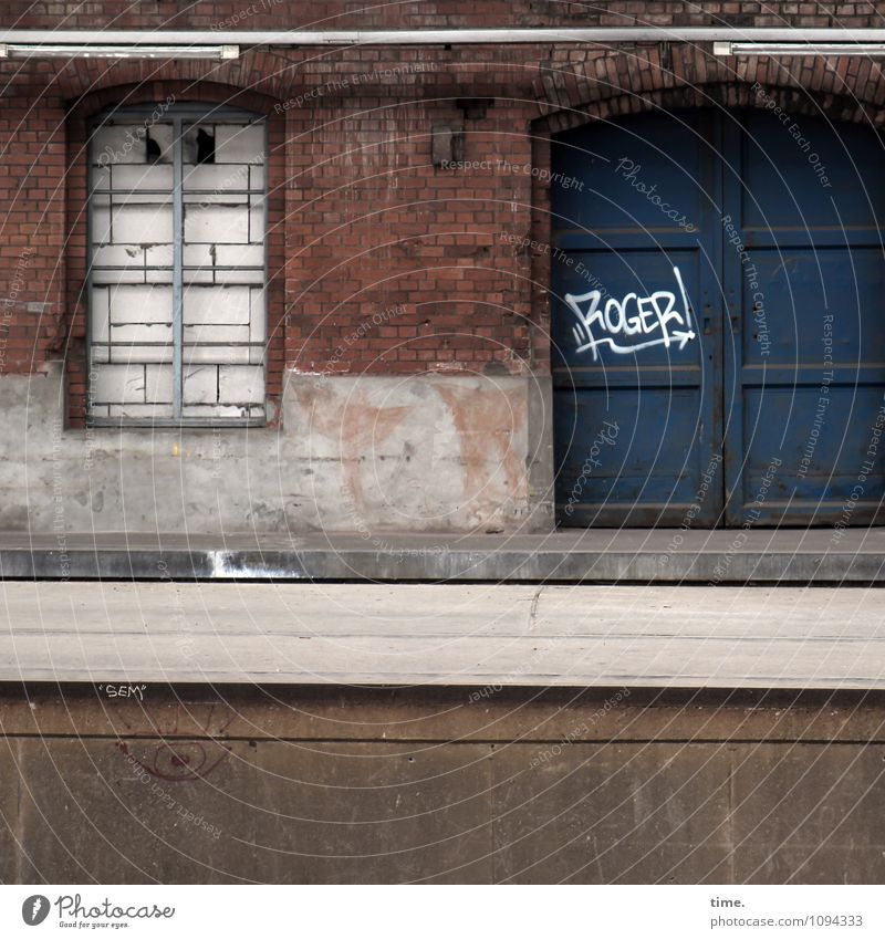 Understood. Ruin Train station Manmade structures Building Architecture Wall (barrier) Wall (building) Window Door Old Dirty Dark Sharp-edged Historic Trashy