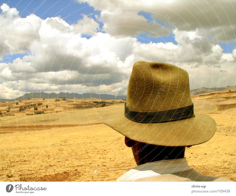 Man Sky White Blue Vacation & Travel Clouds Loneliness Far-off places Mountain Landscape Brown Peru Vantage point Observe Hat Agriculture