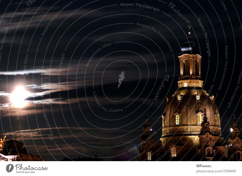 Dresden's best piece Clouds Moon Old town Landmark Monument Dark Historic Peace Religion and faith Past Moonlight Domed roof Renewal Frauenkirche Long exposure