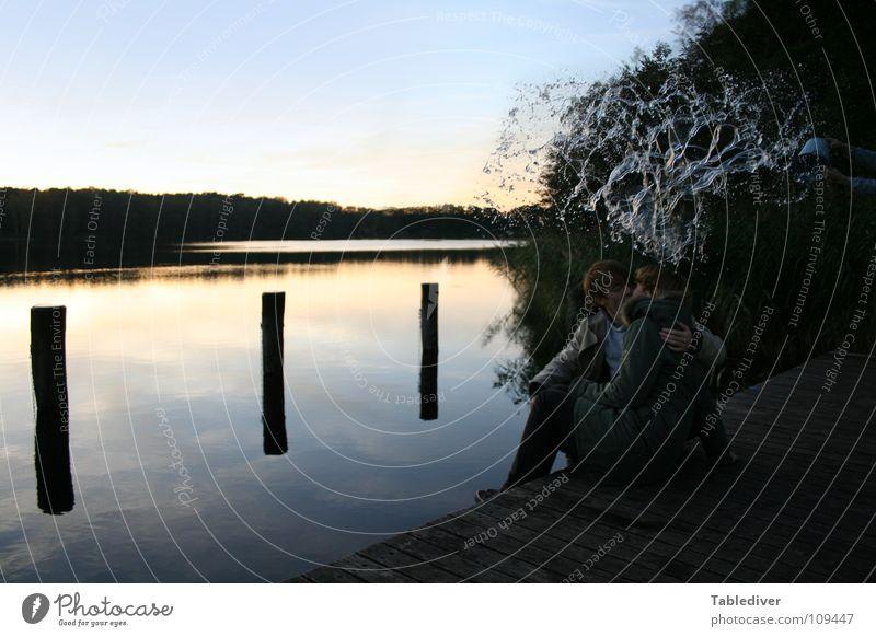 Water Calm Couple Lake Wet Footbridge Inject Bucket