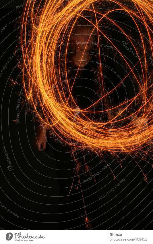 Woman Black Adults Yellow Dark Emotions Movement Style Orange Design Speed Illuminate Circle Round Creativity Physics