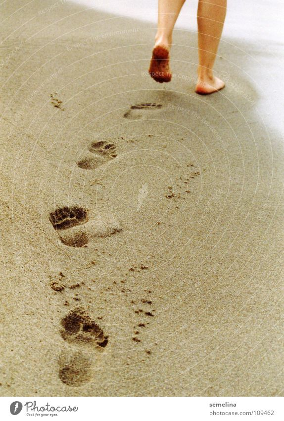 Ocean Beach Loneliness Feet Lanes & trails Sand Coast Going Walking To go for a walk Tracks Footprint Walk on the beach