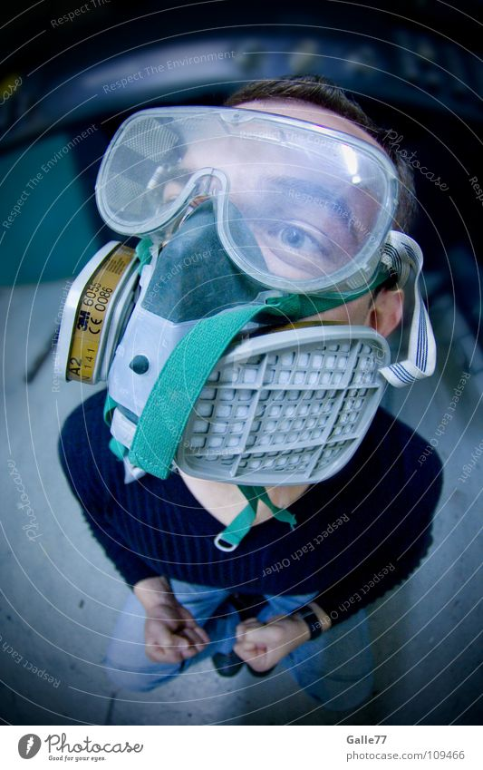 according to regulations Breathe Fresh Air Dirty Pure Dangerous Polluted Portrait photograph Man Oxygen Respirator mask Environment Fisheye Work and employment