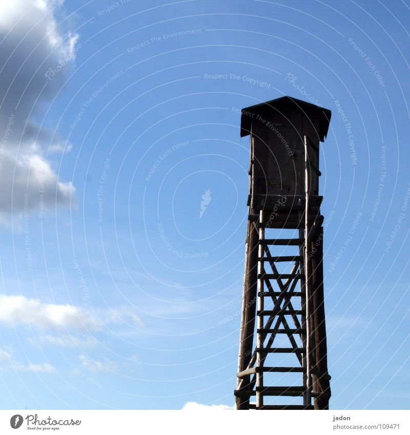 Sky White Blue Calm Clouds Loneliness Landscape Horizon Tower Leisure and hobbies Climbing Square Hunting Upward Ascending Ladder