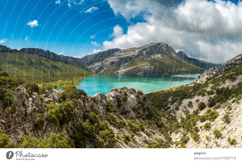 Serra de Tramuntana - Cuber Reservoir Nature Landscape Water Clouds Summer Beautiful weather Bushes Rock Mountain Lake Warmth Loneliness Relaxation
