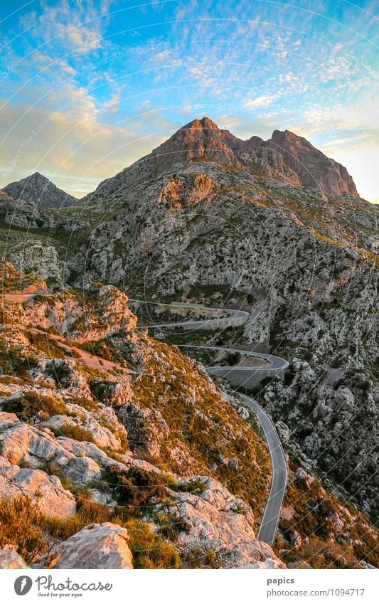 Road to Sa Calobra... Environment Nature Landscape Sky Clouds Summer Bushes Rock Mountain Desert Moody Majorca Colour photo Exterior shot Deserted Evening Light