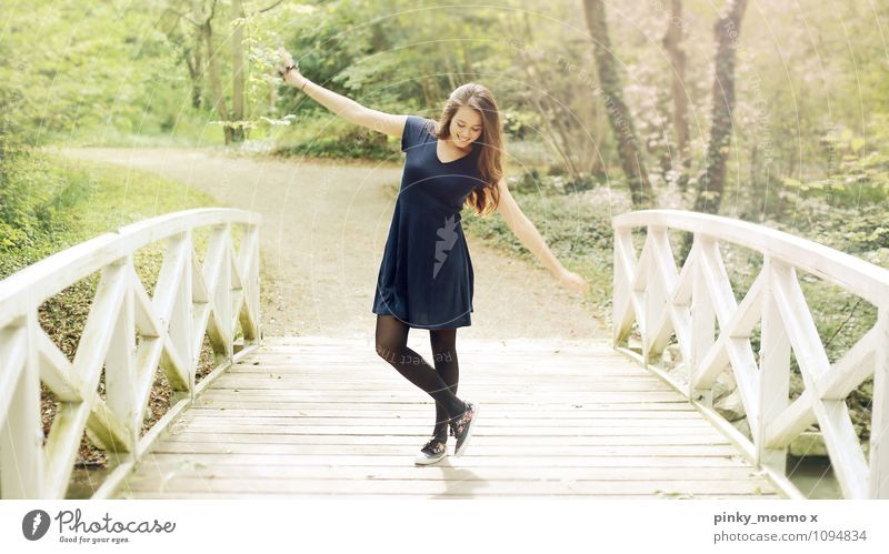 Dance on the bridge Trip Adventure Freedom Feminine Young woman Youth (Young adults) Woman Adults Body 1 Human being 18 - 30 years Nature Landscape Plant Dress