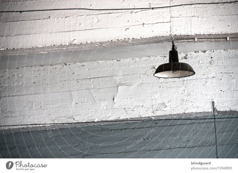 Photograph [Off] Redecorate Lamp Room Industry Factory Wall (barrier) Wall (building) Stone Steel Old Gray Black White Boredom Gloomy Weathered Archaic Broken